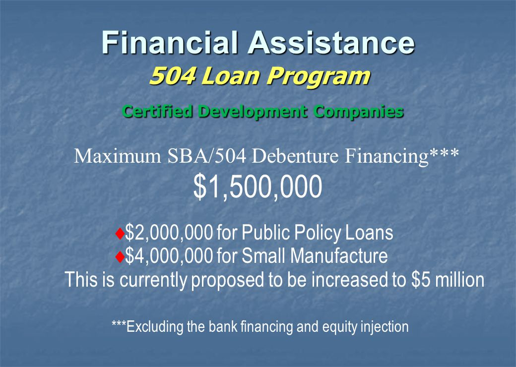 Community Express Loan Program  Loan up to $250,000 ( lenders may set lower limits)  All other 7(a) criteria applies  Technical Assistance (T/A) Available Find updated list of T/A providers at www.sba.gov/va Financial Assistance 7(a) Loan Guaranty Program