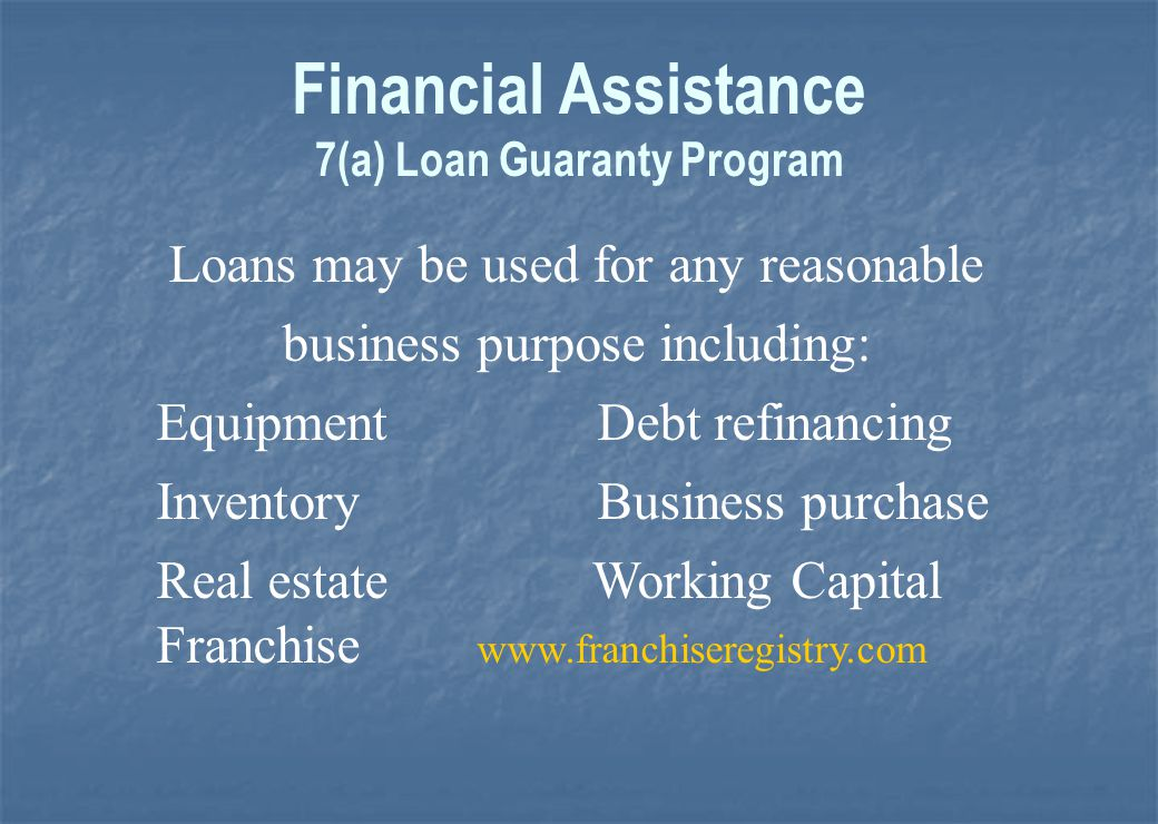 Financial Assistance 7(a) Loan Program 7(a) Loan Program 504 Loan Program 504 Loan Program