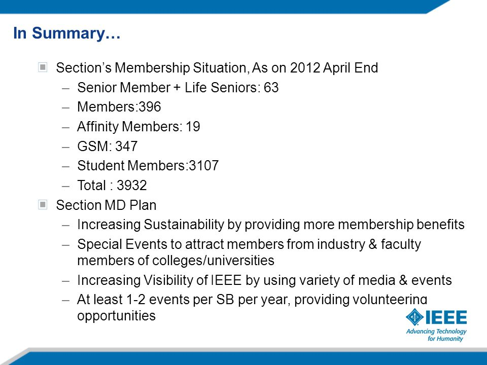 Section's Membership Situation, As on 2012 April End –Senior Member + Life Seniors: 63 –Members:396 –Affinity Members: 19 –GSM: 347 –Student Members:3107 –Total : 3932 Section MD Plan –Increasing Sustainability by providing more membership benefits –Special Events to attract members from industry & faculty members of colleges/universities –Increasing Visibility of IEEE by using variety of media & events –At least 1-2 events per SB per year, providing volunteering opportunities In Summary…