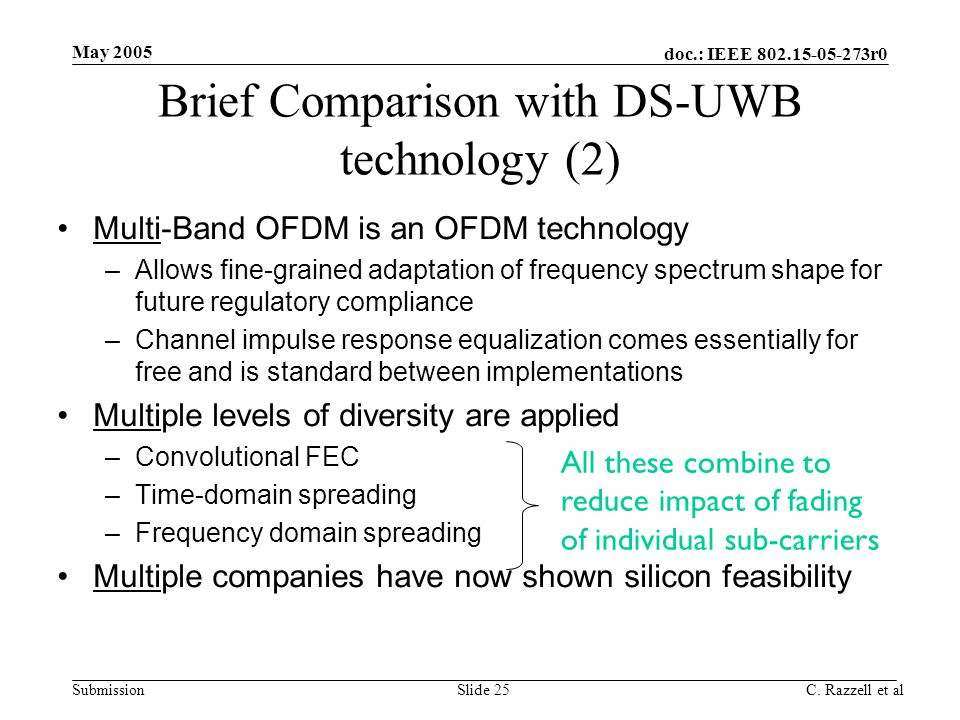 doc.: IEEE 802.15-05-273r0 Submission May 2005 C. Razzell et alSlide 25 Multi-Band OFDM is an OFDM technology –Allows fine-grained adaptation of frequ