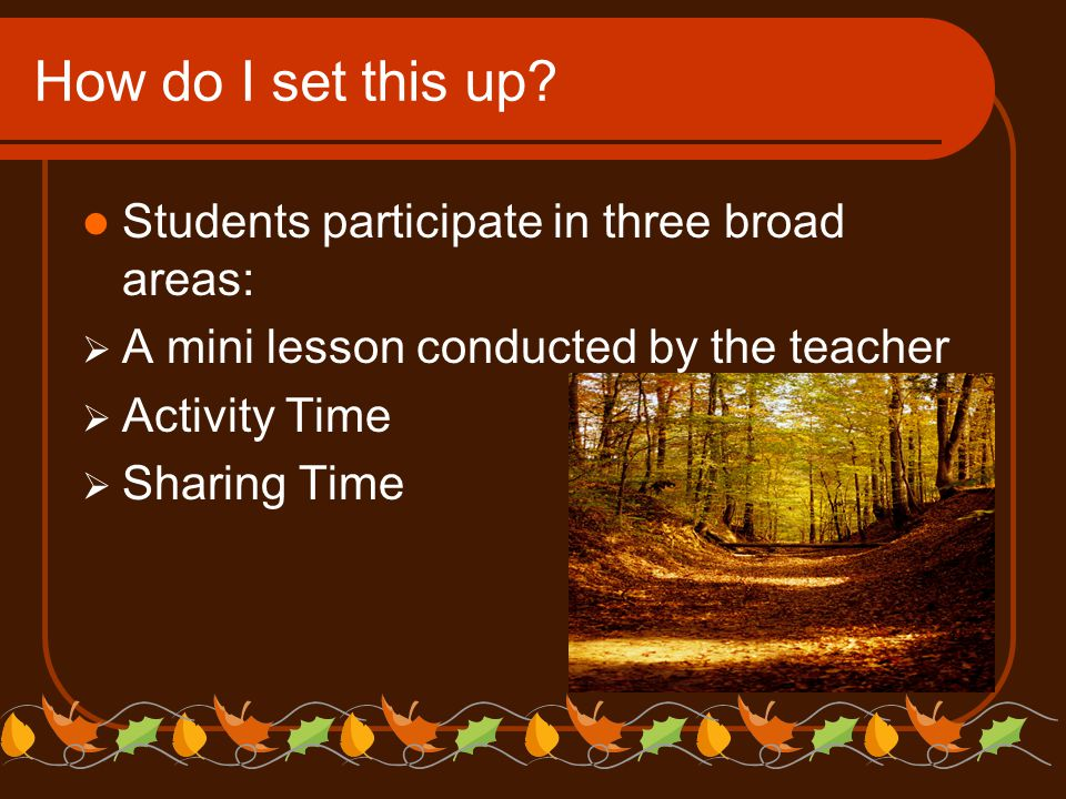 How do I set this up? Students participate in three broad areas:  A mini lesson conducted by the teacher  Activity Time  Sharing Time