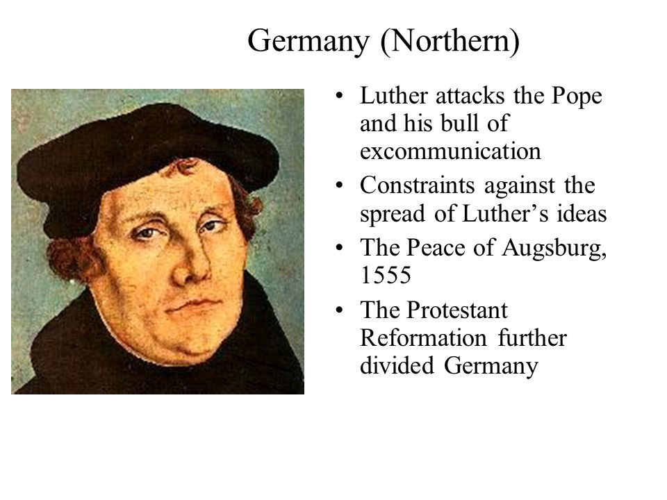 A. Germany (Northern) Luther troubled by the sale of indulgences Dominican friar Tetzel was selling indulgences in Wittenberg in 1517 Luther posts his