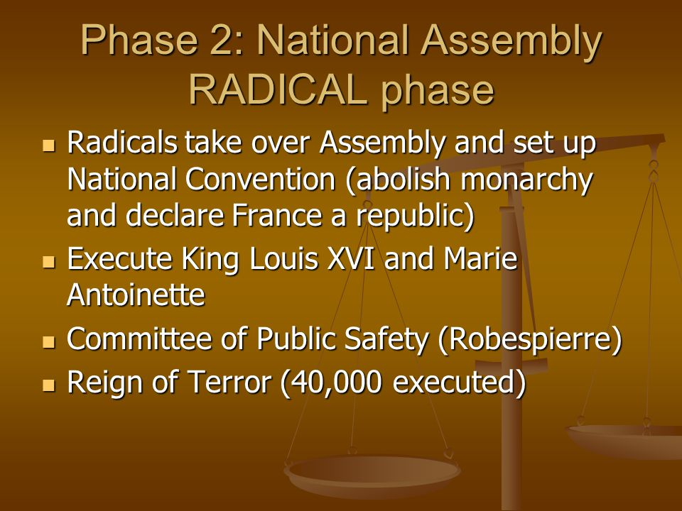 Phase 2: National Assembly RADICAL phase Radicals take over Assembly and set up National Convention (abolish monarchy and declare France a republic) R