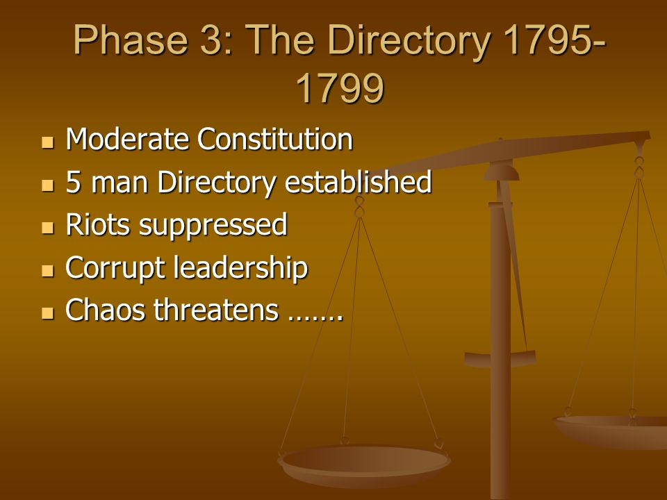 Phase 3: The Directory 1795- 1799 Moderate Constitution Moderate Constitution 5 man Directory established 5 man Directory established Riots suppressed Riots suppressed Corrupt leadership Corrupt leadership Chaos threatens …….