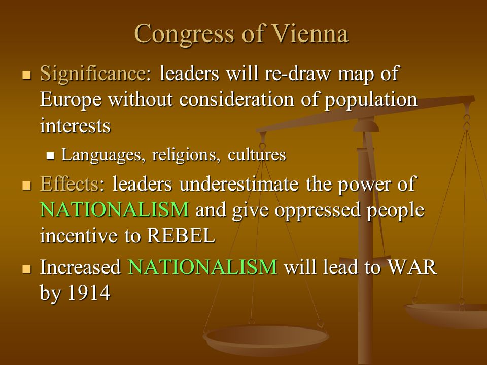 Congress of Vienna Significance: leaders will re-draw map of Europe without consideration of population interests Significance: leaders will re-draw m