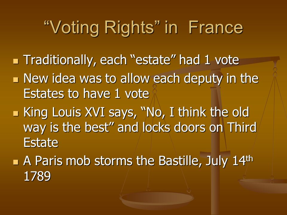 """""""Voting Rights"""" in France Traditionally, each """"estate"""" had 1 vote Traditionally, each """"estate"""" had 1 vote New idea was to allow each deputy in the Est"""