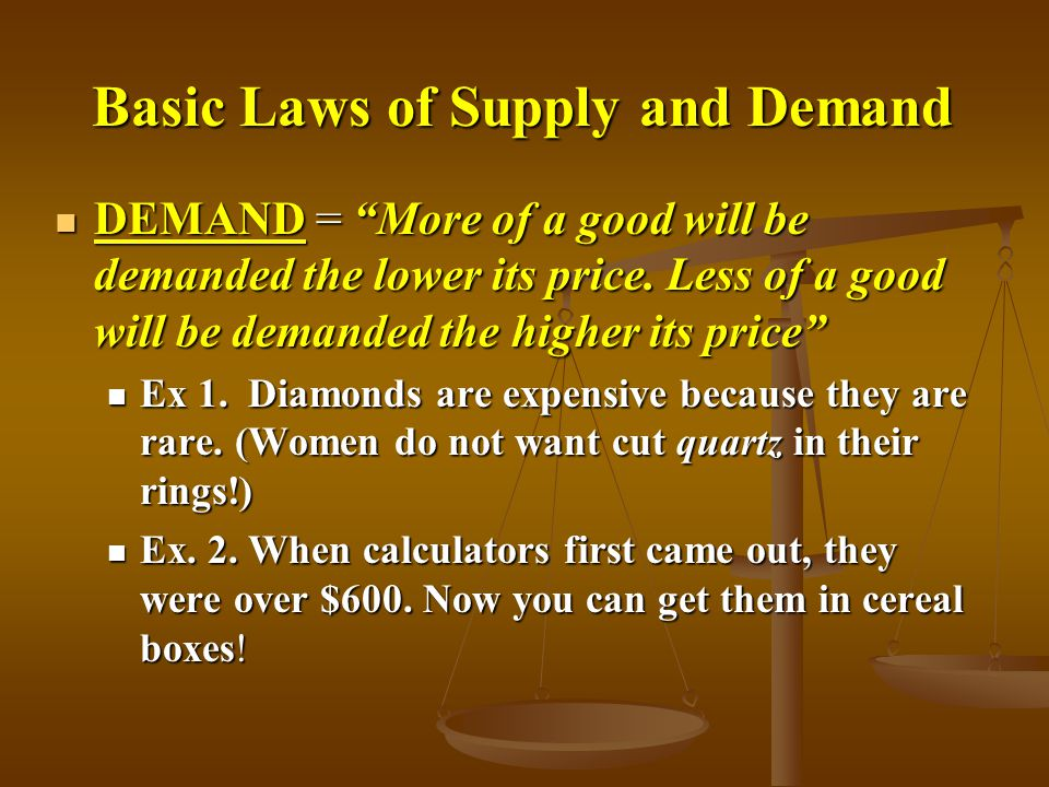 """Basic Laws of Supply and Demand Basic Laws of Supply and Demand DEMAND = """"More of a good will be demanded the lower its price. Less of a good will be"""