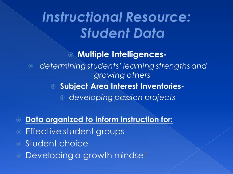  Multiple Intelligences-  determining students' learning strengths and growing others  Subject Area Interest Inventories-  developing passion proj
