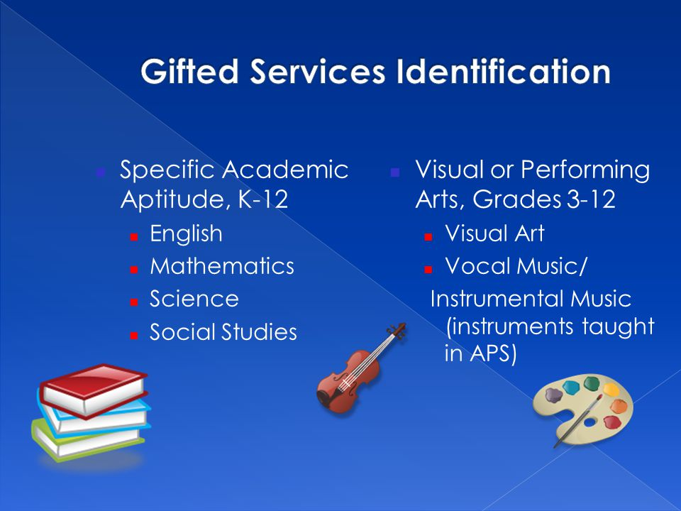 Specific Academic Aptitude, K-12 English Mathematics Science Social Studies Visual or Performing Arts, Grades 3-12 Visual Art Vocal Music/ Instrumenta