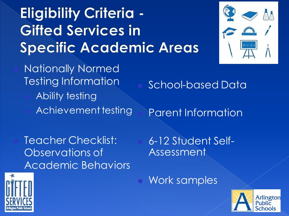 Nationally Normed Testing Information Ability testing Achievement testing Teacher Checklist: Observations of Academic Behaviors School-based Data Pare