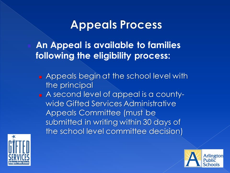 An Appeal is available to families following the eligibility process: Appeals begin at the school level with the principal Appeals begin at the school