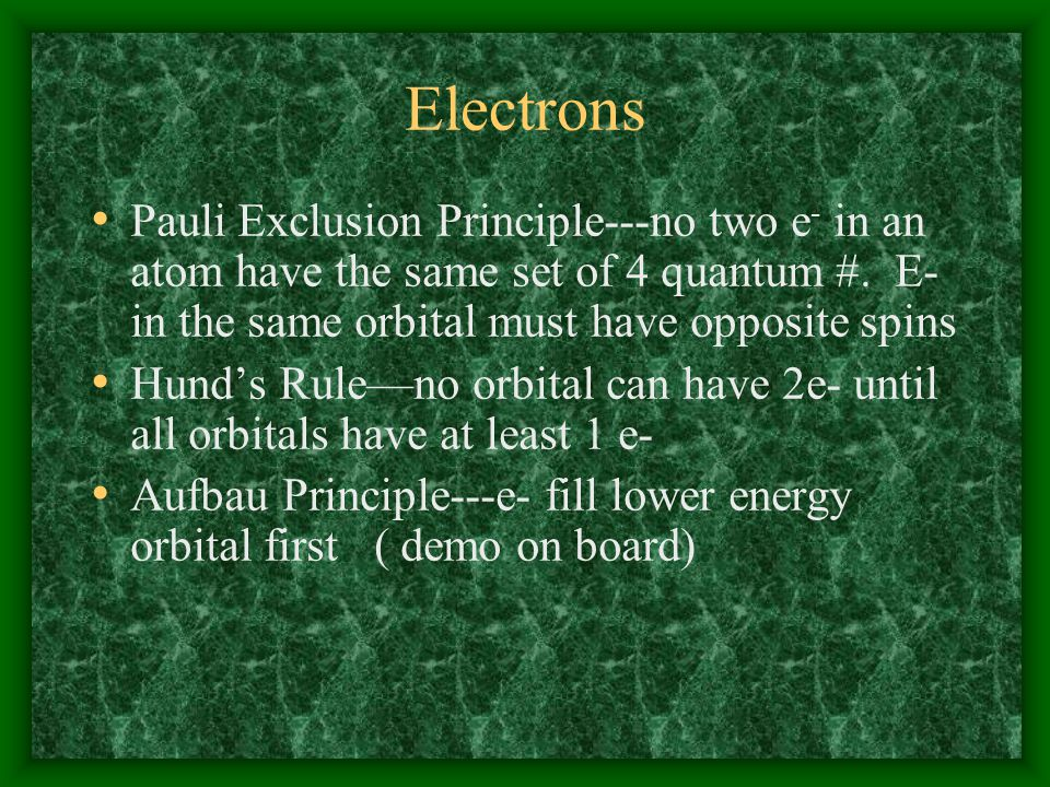 Electrons Orbital ---space occupied by 2 e- Degenerate orbital---orbital with the same number of electrons and energy 3 p orbitals 5 d orbitals 7 f orbitals