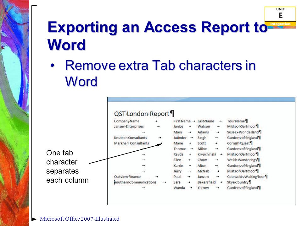 Exporting an Access Report to Word Remove extra Tab characters in WordRemove extra Tab characters in Word Microsoft Office 2007-Illustrated One tab character separates each column
