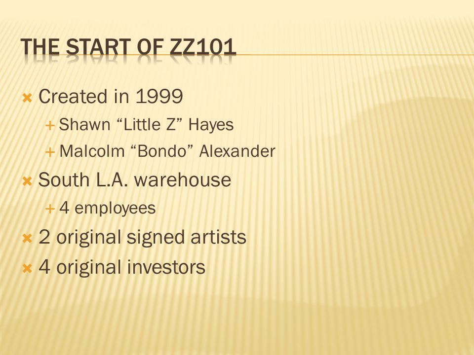  Created in 1999  Shawn Little Z Hayes  Malcolm Bondo Alexander  South L.A.