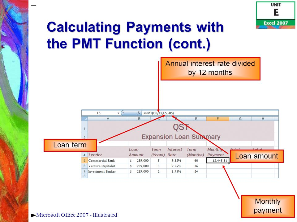 23Microsoft Office 2007 - Illustrated Calculating Payments with the PMT Function (cont.) Annual interest rate divided by 12 months Loan term Loan amount Monthly payment
