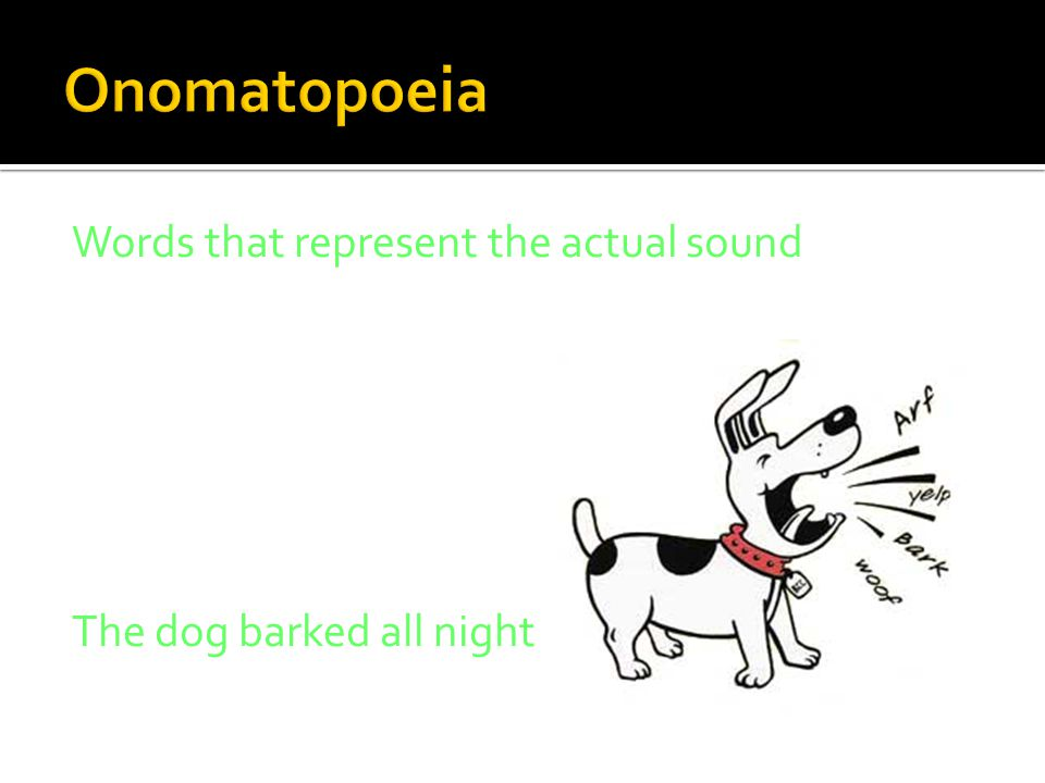 Words that represent the actual sound The dog barked all night