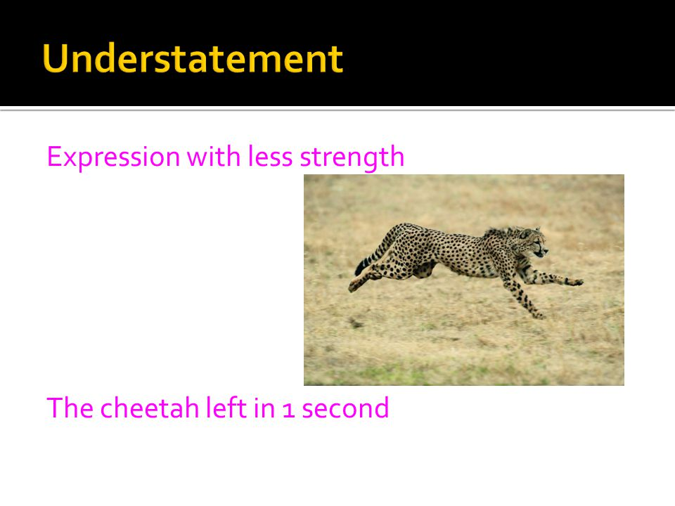 Expression with less strength The cheetah left in 1 second