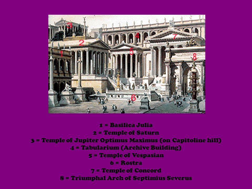 1 = Basilica Julia 2 = Temple of Saturn 3 = Temple of Jupiter Optimus Maximus (on Capitoline hill) 4 = Tabularium (Archive Building) 5 = Temple of Vespasian 6 = Rostra 7 = Temple of Concord 8 = Triumphal Arch of Septimius Severus