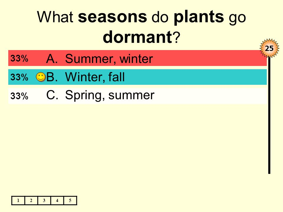 What seasons do plants go dormant 12345 A.Summer, winter B.Winter, fall C.Spring, summer 25