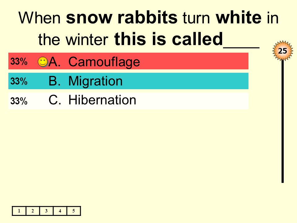 When snow rabbits turn white in the winter this is called ____ 12345 25 A.Camouflage B.Migration C.Hibernation