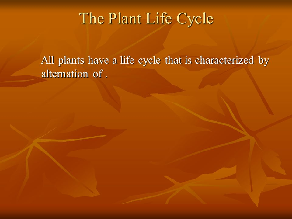 Complete the table about plant generations. Complete the table about plant generations.