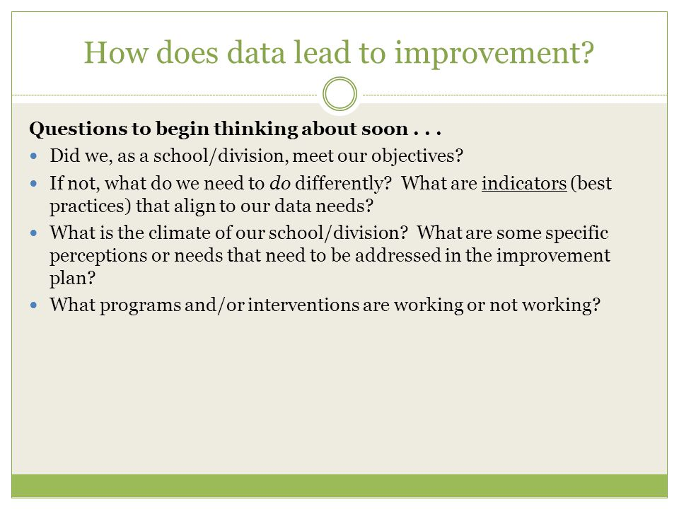 How does data lead to improvement? Questions to begin thinking about soon... Did we, as a school/division, meet our objectives? If not, what do we nee