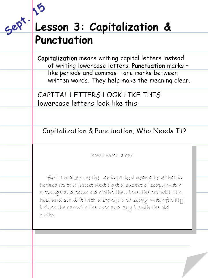 Lesson 3: Capitalization & Punctuation Sept.