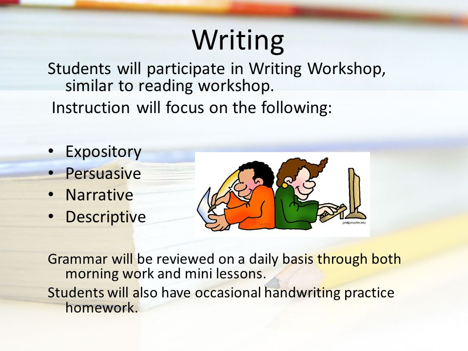 Students will participate in Writing Workshop, similar to reading workshop.