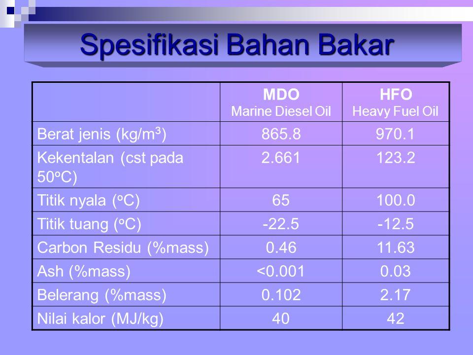 MDO Marine Diesel Oil HFO Heavy Fuel Oil Berat jenis (kg/m 3 )865.8970.1 Kekentalan (cst pada 50 o C) 2.661123.2 Titik nyala ( o C)65100.0 Titik tuang ( o C)-22.5-12.5 Carbon Residu (%mass)0.4611.63 Ash (%mass)<0.0010.03 Belerang (%mass)0.1022.17 Nilai kalor (MJ/kg)4042 Spesifikasi Bahan Bakar