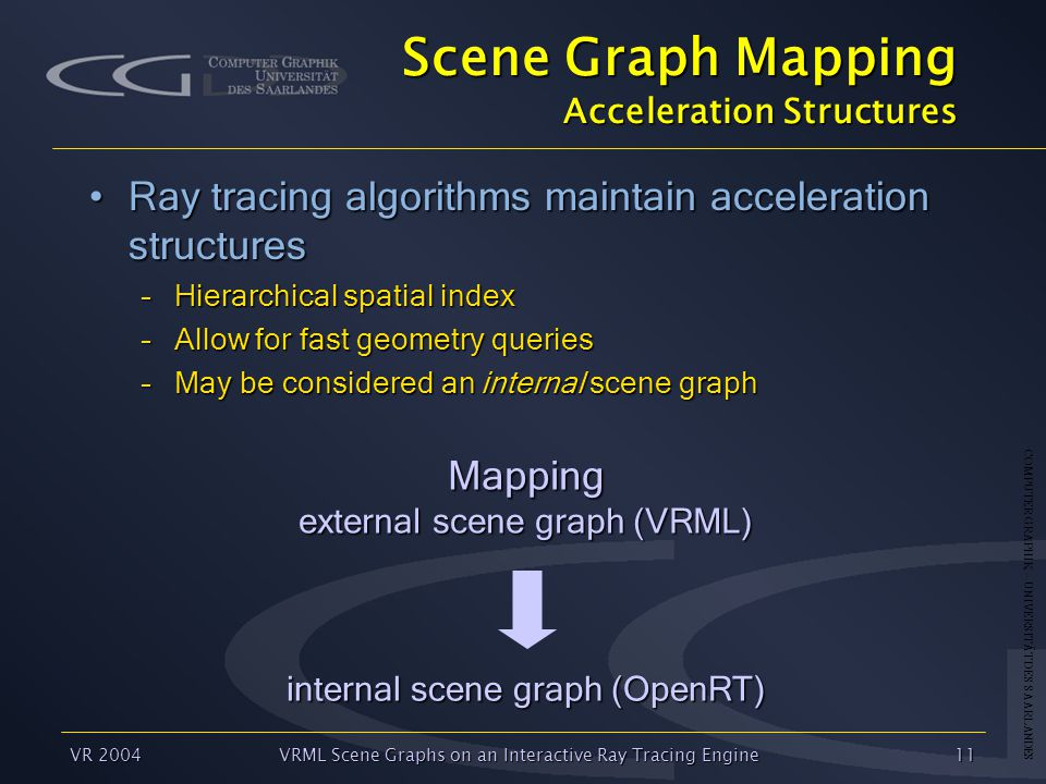 COMPUTER GRAPHIK – UNIVERSITÄT DES SAARLANDES VR 2004VRML Scene Graphs on an Interactive Ray Tracing Engine11 Scene Graph Mapping Acceleration Structures Ray tracing algorithms maintain acceleration structuresRay tracing algorithms maintain acceleration structures –Hierarchical spatial index –Allow for fast geometry queries –May be considered an internal scene graph internal scene graph (OpenRT) Mapping external scene graph (VRML)