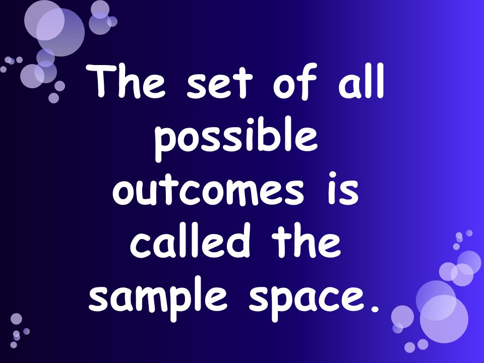 The set of all possible outcomes is called the sample space.