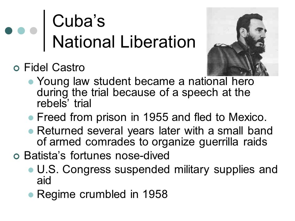 Cuba's National Liberation Batista fled Cuba on New Year's Day 1959 The wealthy elite fled I droves to exile in southern Florida and elsewhere As Castro began to consolidate his power, his regime became more radical He seized control of the economy Massive redistribution of land Nationalized foreign oil refineries