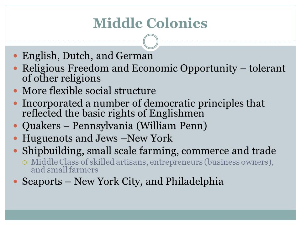Middle Colonies English, Dutch, and German Religious Freedom and Economic Opportunity – tolerant of other religions More flexible social structure Inc