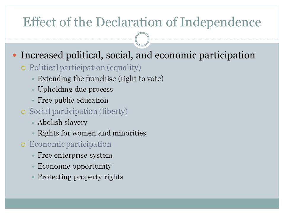 Effect of the Declaration of Independence Increased political, social, and economic participation  Political participation (equality)  Extending the