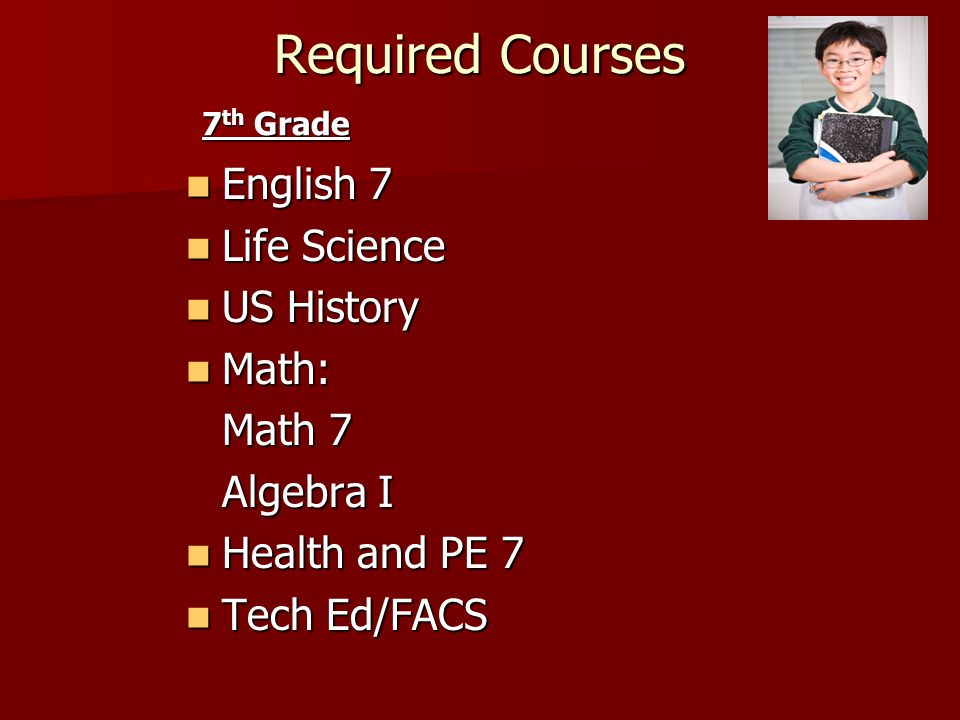 7 th Grade Courses Sample Schedule A Day B Day English 7 Math (Math 7 or Algebra I) Life Science Tech Ed (Semester) FAC S (Semester) US History Resource/( 45 minutes) Shared with- Music -(Band, Chorus, Strings, Guitar) or Art Health and PE 7 Foreign Language or Communications Studies Other options for Resource: Spectrum
