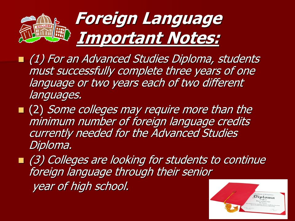 2 types of Diplomas Advanced Studies Diploma Advanced Studies Diploma This is what we plan for all students at the middle school level This is what we plan for all students at the middle school level Standard Studies Diploma Standard Studies Diploma