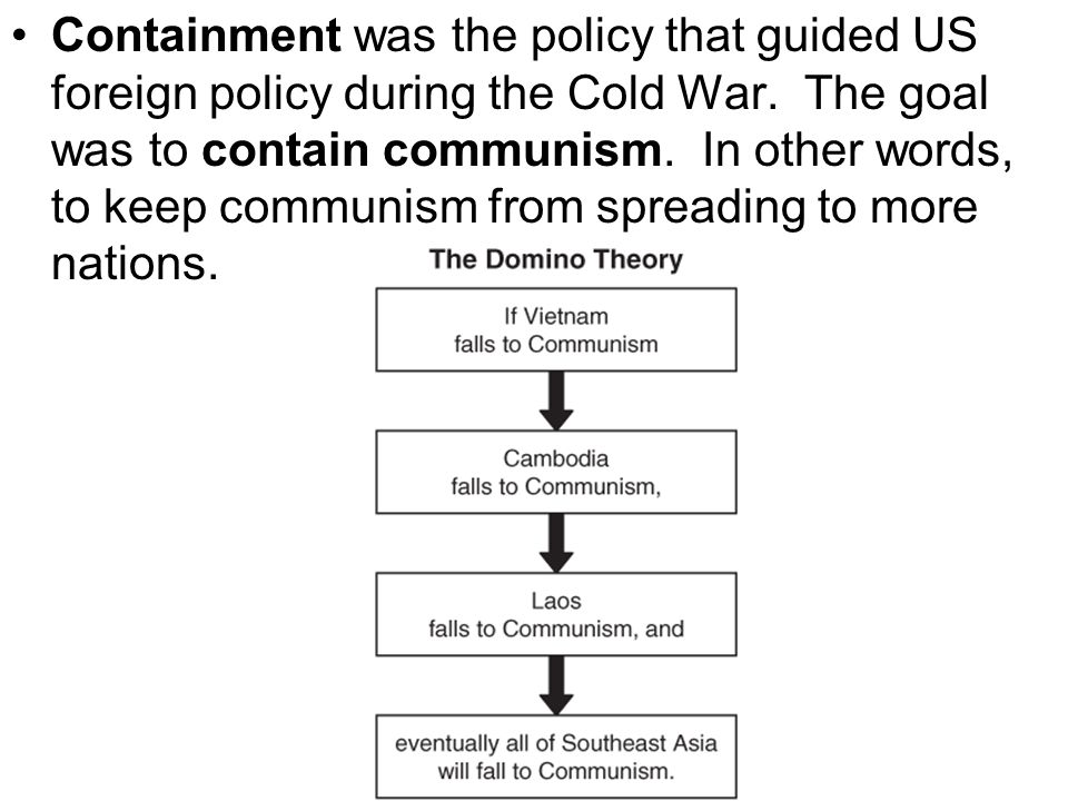 Containment was the policy that guided US foreign policy during the Cold War. The goal was to contain communism. In other words, to keep communism fro