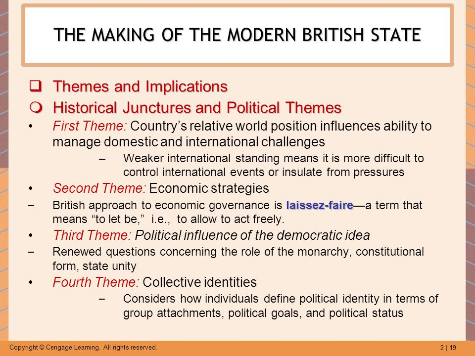 2 | 19 Copyright © Cengage Learning. All rights reserved. THE MAKING OF THE MODERN BRITISH STATE  Themes and Implications  Historical Junctures and