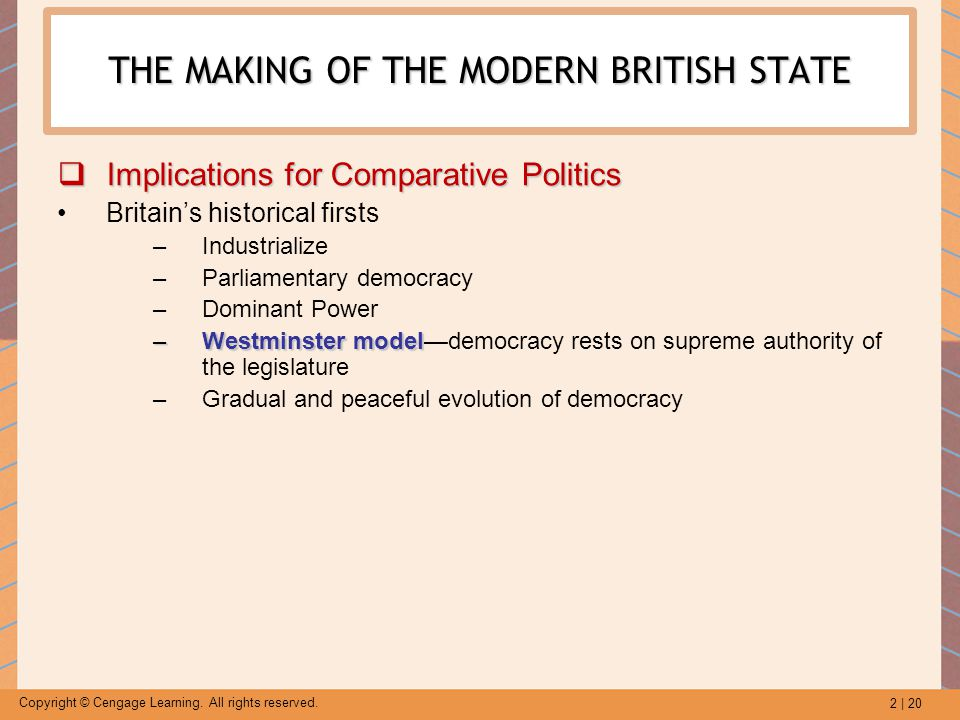 2 | 20 Copyright © Cengage Learning. All rights reserved. THE MAKING OF THE MODERN BRITISH STATE  Implications for Comparative Politics Britain's his