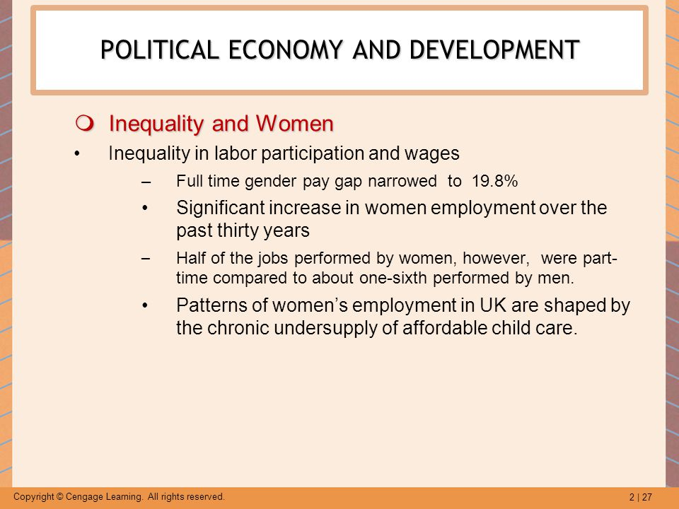 2 | 27 Copyright © Cengage Learning. All rights reserved. POLITICAL ECONOMY AND DEVELOPMENT  Inequality and Women Inequality in labor participation a