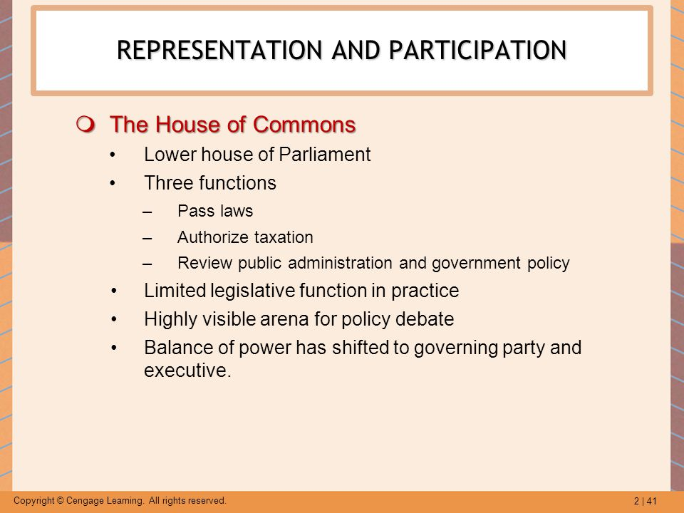 2 | 41 Copyright © Cengage Learning. All rights reserved. REPRESENTATION AND PARTICIPATION  The House of Commons Lower house of Parliament Three func