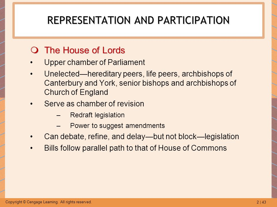 2 | 43 Copyright © Cengage Learning. All rights reserved. REPRESENTATION AND PARTICIPATION  The House of Lords Upper chamber of Parliament Unelected—