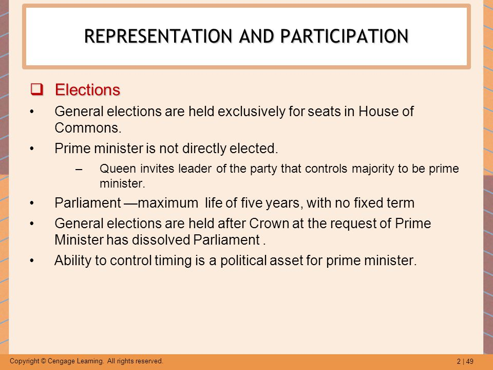 2 | 49 Copyright © Cengage Learning. All rights reserved. REPRESENTATION AND PARTICIPATION  Elections General elections are held exclusively for seat