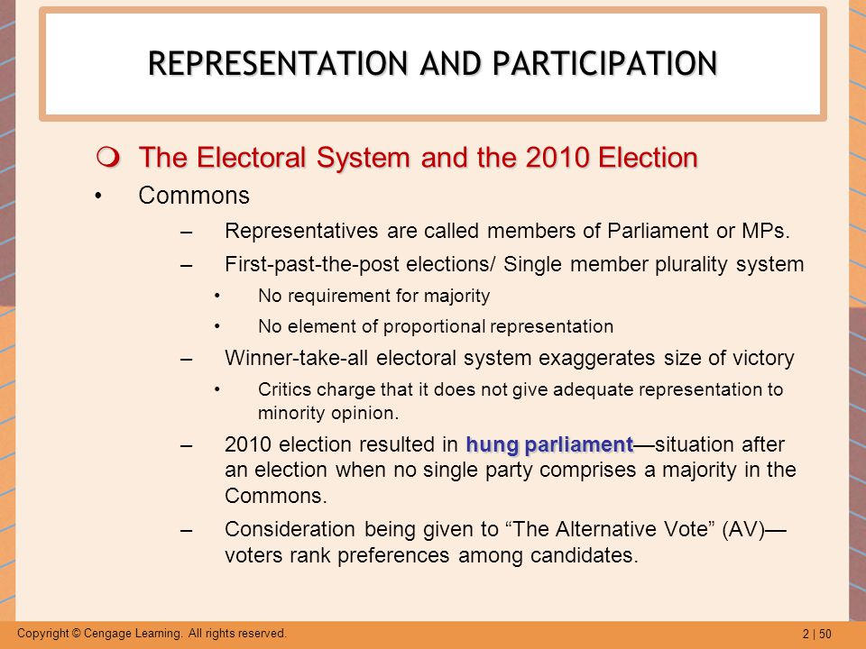 2 | 50 Copyright © Cengage Learning. All rights reserved. REPRESENTATION AND PARTICIPATION  The Electoral System and the 2010 Election Commons –Repre