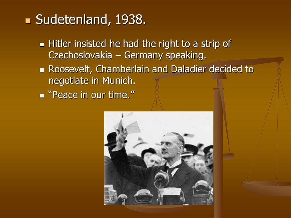 Sudetenland, 1938. Sudetenland, 1938. Hitler insisted he had the right to a strip of Czechoslovakia – Germany speaking. Hitler insisted he had the rig