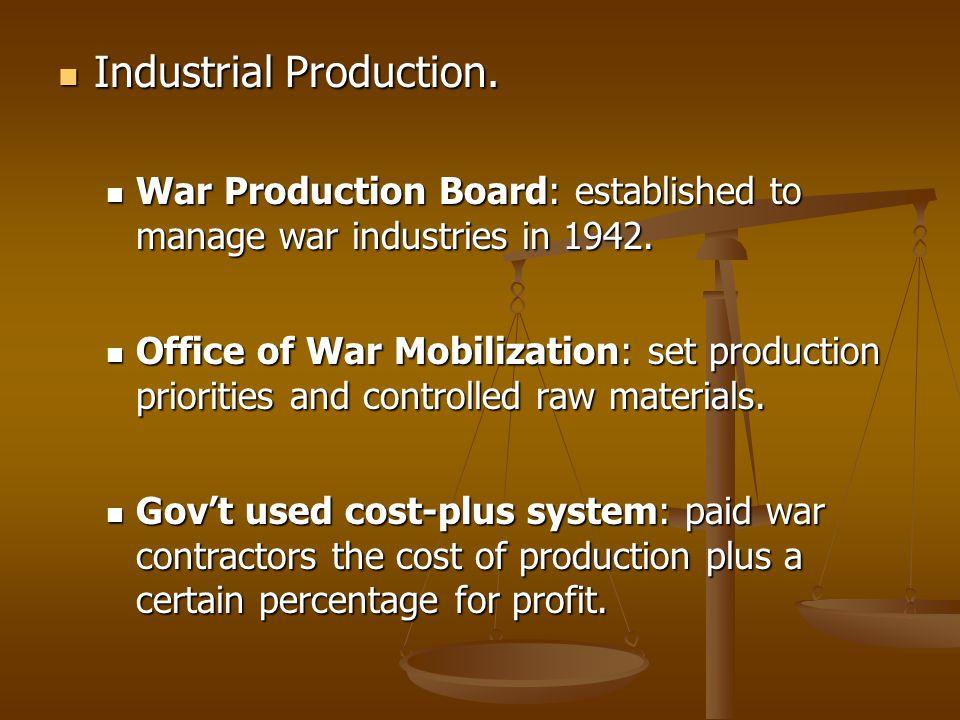 Industrial Production. Industrial Production. War Production Board: established to manage war industries in 1942. War Production Board: established to