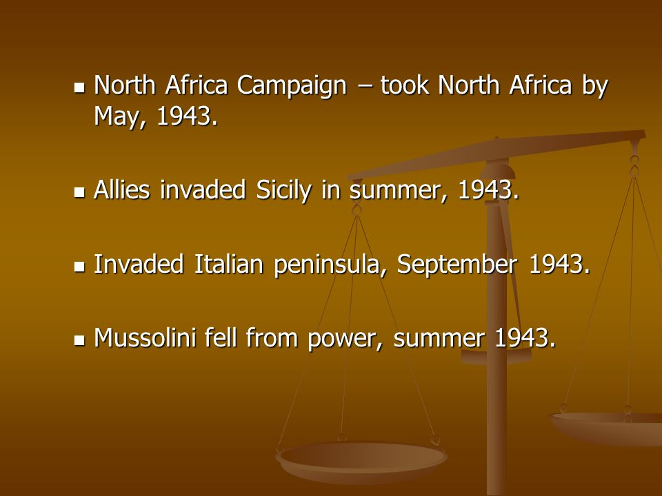 North Africa Campaign – took North Africa by May, 1943. North Africa Campaign – took North Africa by May, 1943. Allies invaded Sicily in summer, 1943.