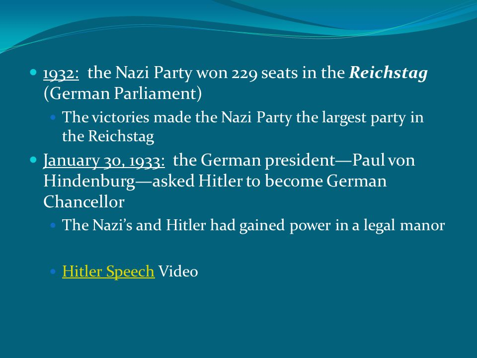 1932: the Nazi Party won 229 seats in the Reichstag (German Parliament) The victories made the Nazi Party the largest party in the Reichstag January 3