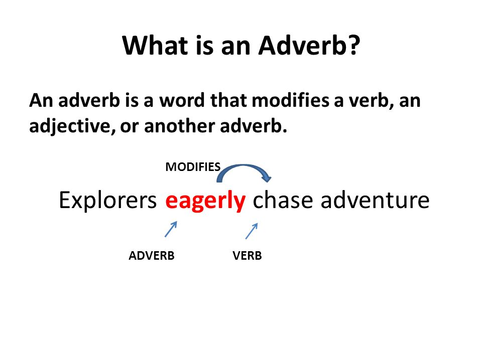 What is an Adverb.An adverb is a word that modifies a verb, an adjective, or another adverb.