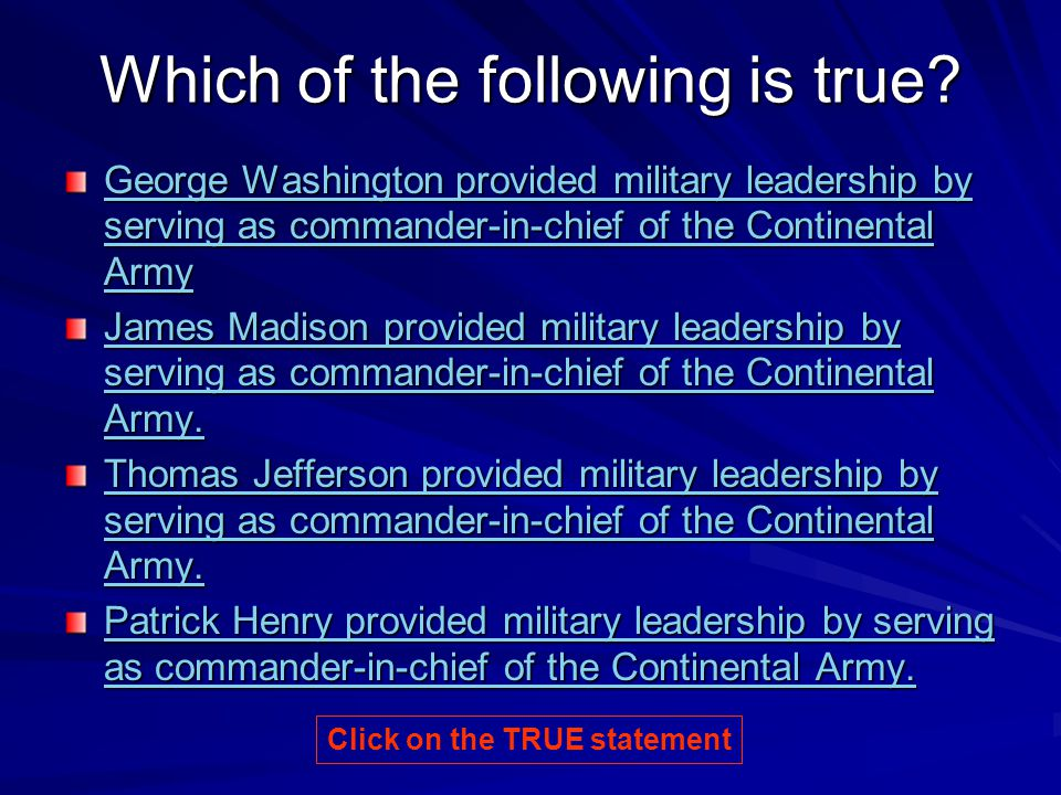 This Statement is TRUE! Click for next question